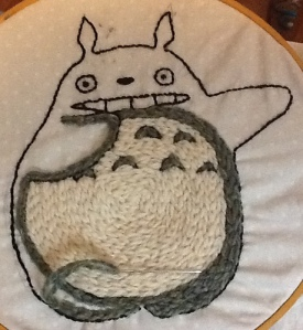 half-done embroidery of big Totoro