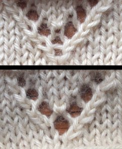 """The bottom chevron is the traditional one, asymmetrical, but with a more open YO. The top one uses a modified """"bunny ear"""" decrease with a yarn over inserted between the two halves. This makes for better symmetry, but a less open YO at the bottom of the V."""