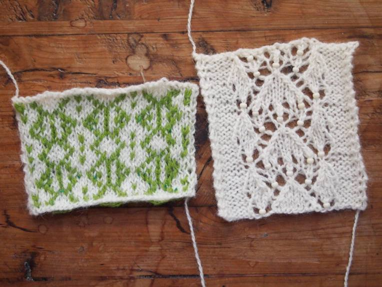 Two stitch patterns based on the word, Spring.