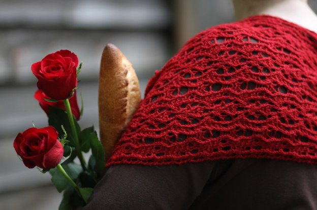 Bread and Roses, a rectangular lace stole pattern whose design is based on numbers derived from the name.