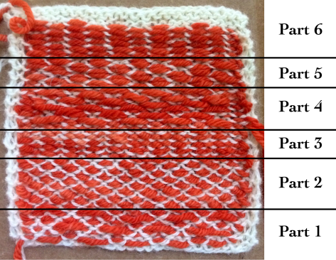 Different patterns made with a different kind of knitweaving.