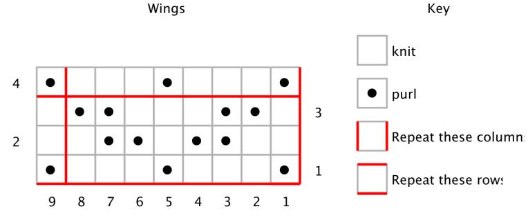 Free stitch pattern outtake: Wings