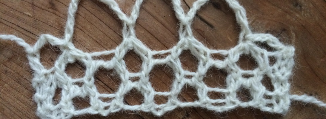 Crochet loop edging for knitted lace, done entirely with knitting needles.