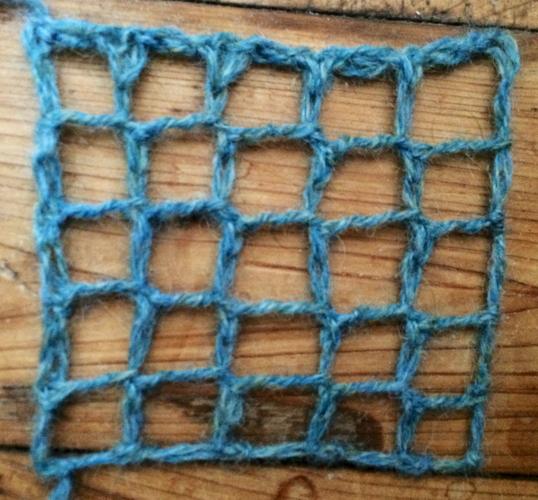 Knitted square netting, a free stitch pattern.