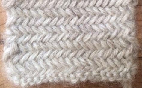 Miniature Herringbone, a twice-knit stitch