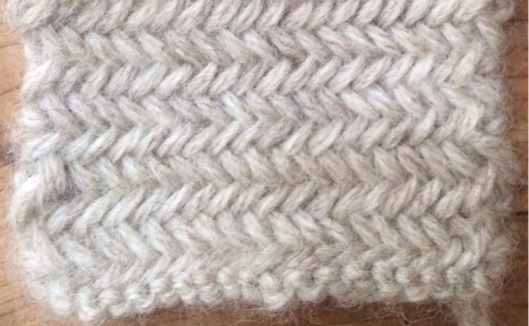 Miniature Herringbone, a twice-knit stitch