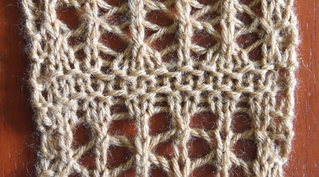 A simple lace knitting pattern, experimenting with including k1b brioche stitches.