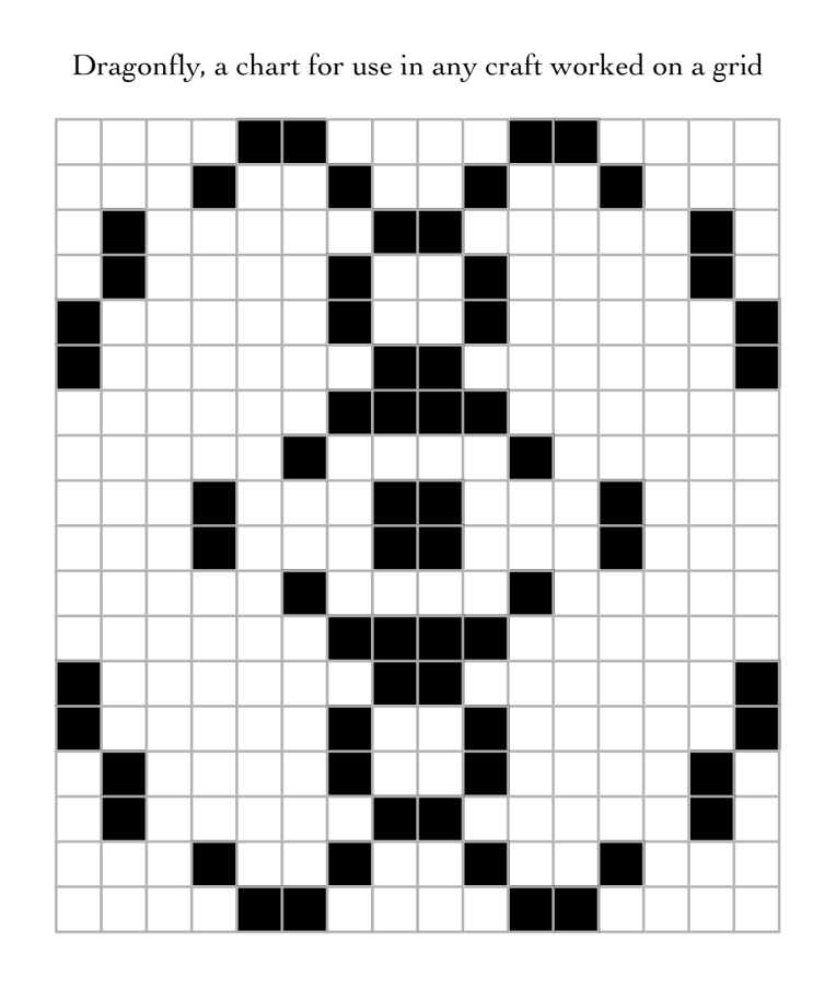 Dragonfly, a free chart for use in any craft worked on a grid.