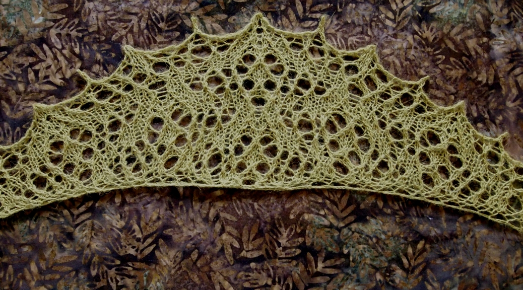 Galaxite, a free lace knitting pattern.