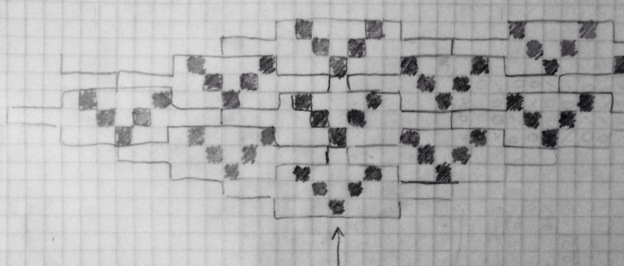 A method for tiling a knitting stitch pattern with an odd number of stitches using flattened diamonds.