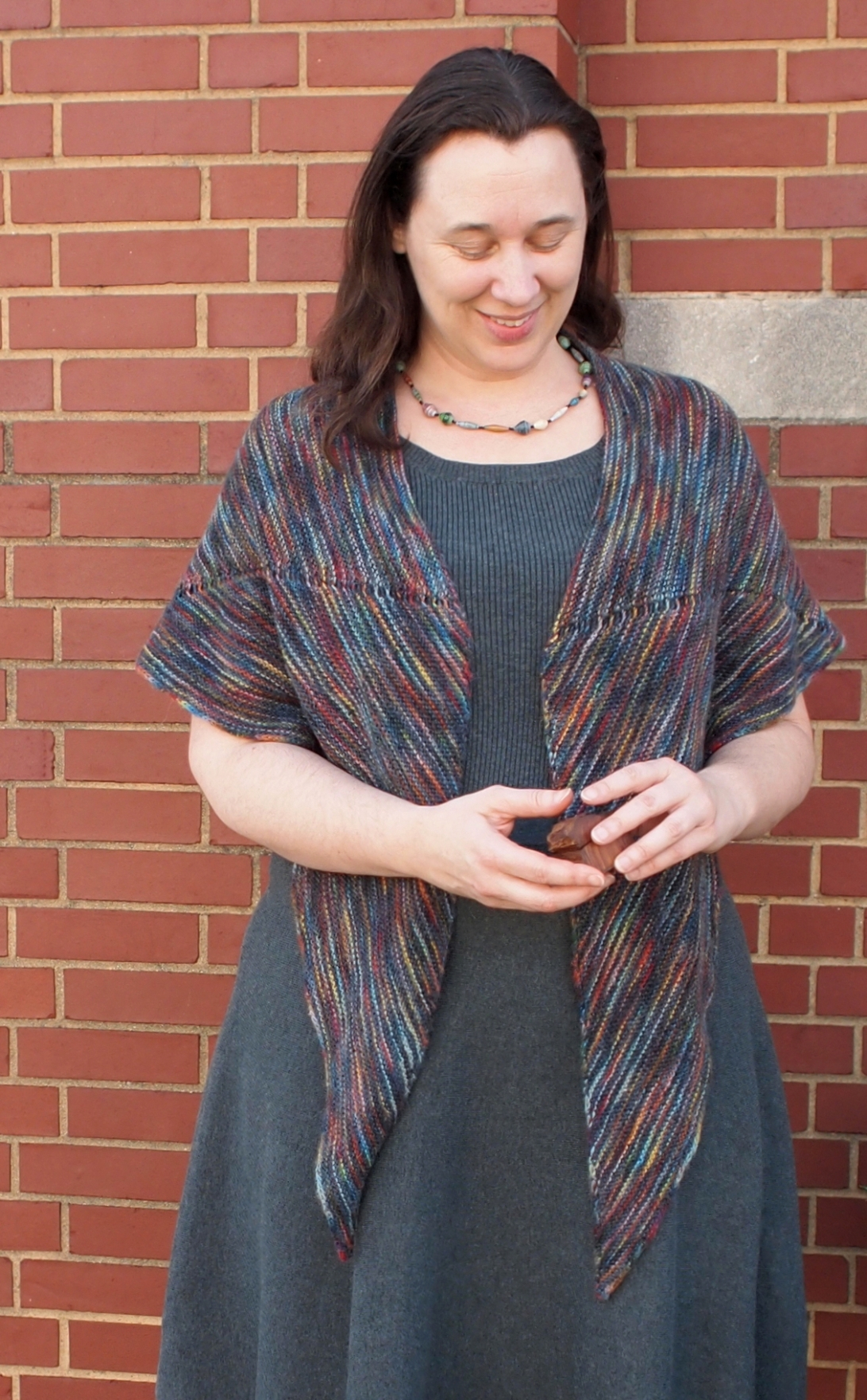 New Hope Creek: a striped garter shawl in a kind of crescent shape.