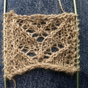 Swatch with blocking wires in YO selvedges