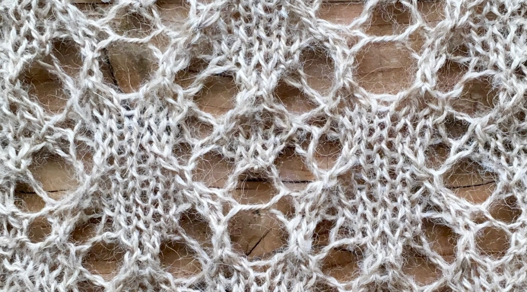 Tea and swags: a combination of two free lace knitting patterns by Naomi Parkhurst.
