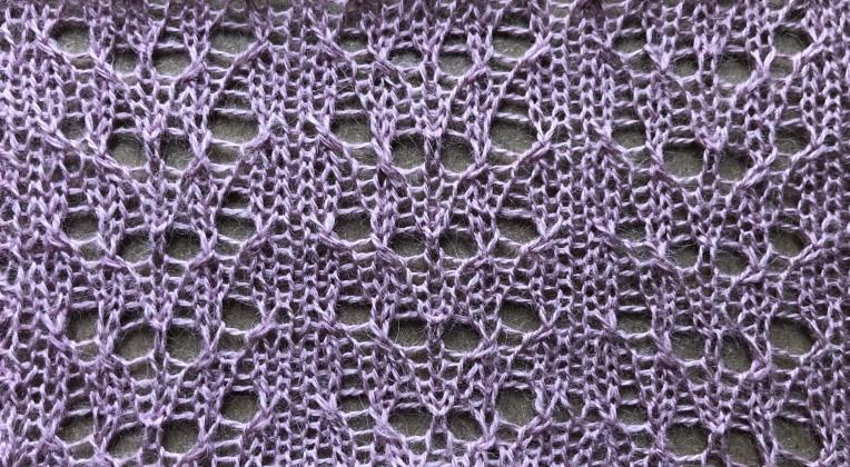 Alice: a free lace knitting stitch pattern, by Naomi Parkhurst (swatch photo)
