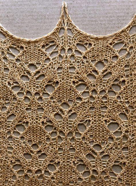 Synergy: a free lace knitting stitch pattern, by Naomi Parkhurst. (photo of swatch)