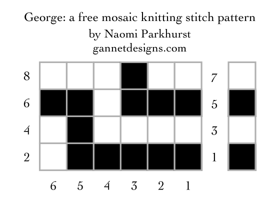 George: a free mosaic knitting chart, by Naomi Parkhurst