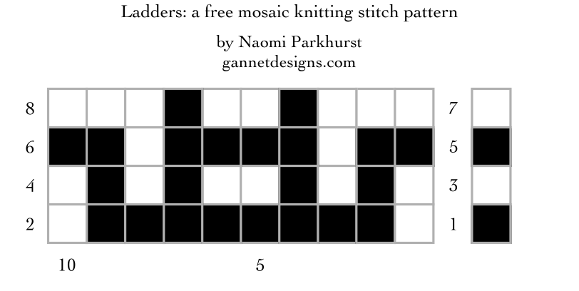 Ladders: a free mosaic knitting chart, by Naomi Parkhurst