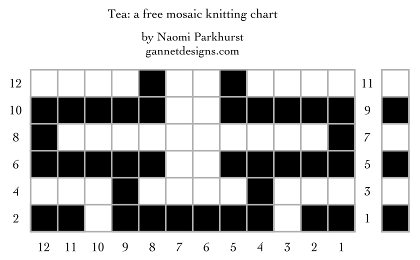 Tea: a free mosaic knitting stitch pattern chart, by Naomi Parkhurst