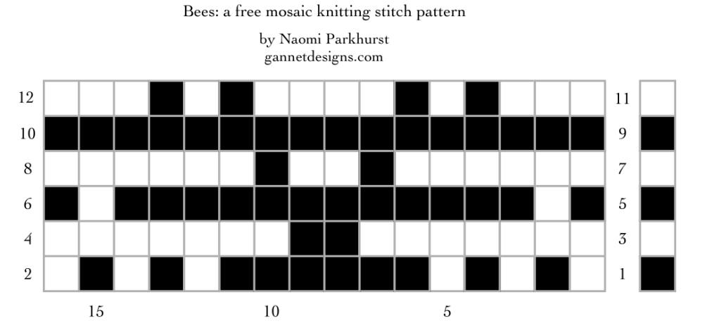 Bees: a free mosaic knitting stitch pattern chart, by Naomi Parkhurst