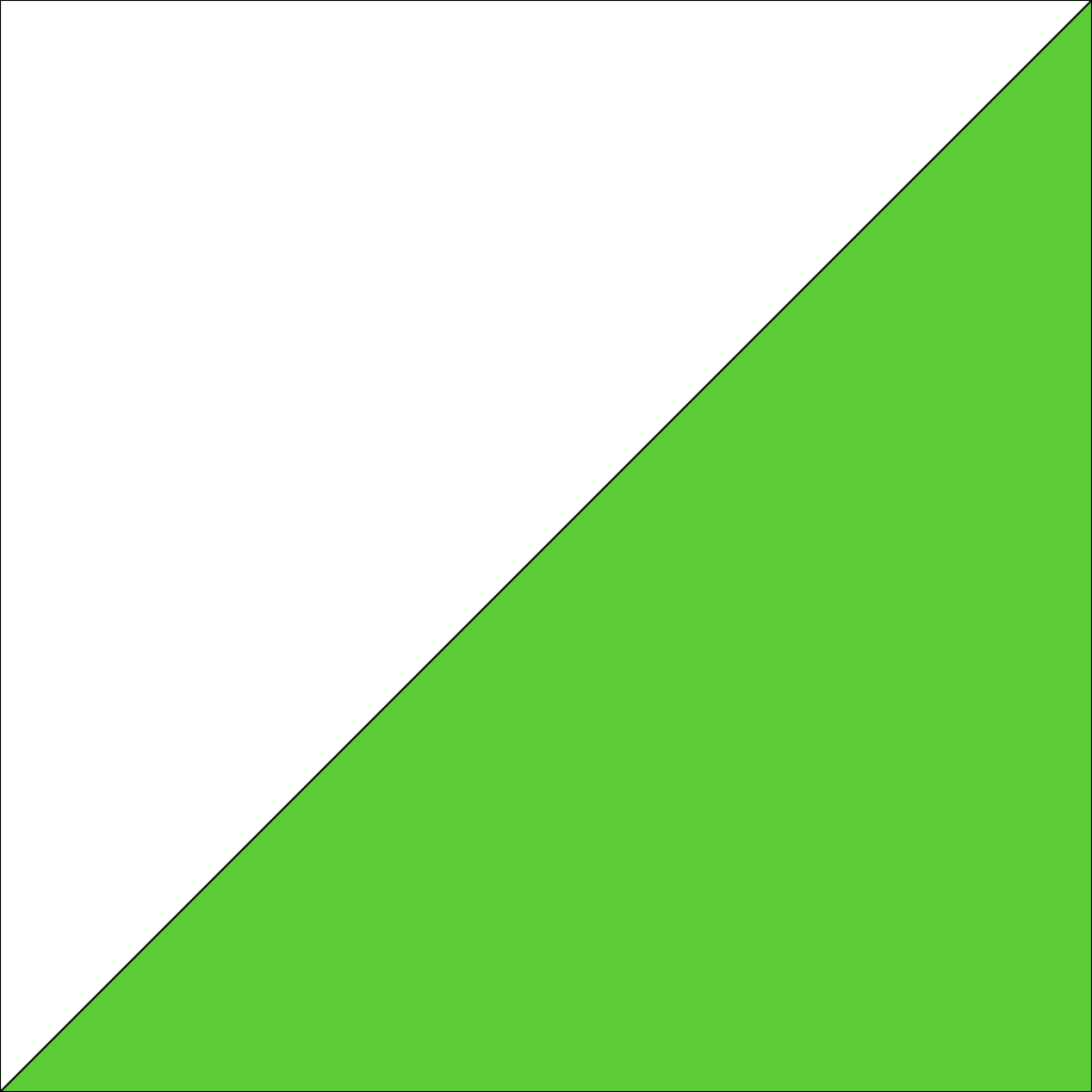 square cut in half diagonally, with each resulting triangle in a different color.
