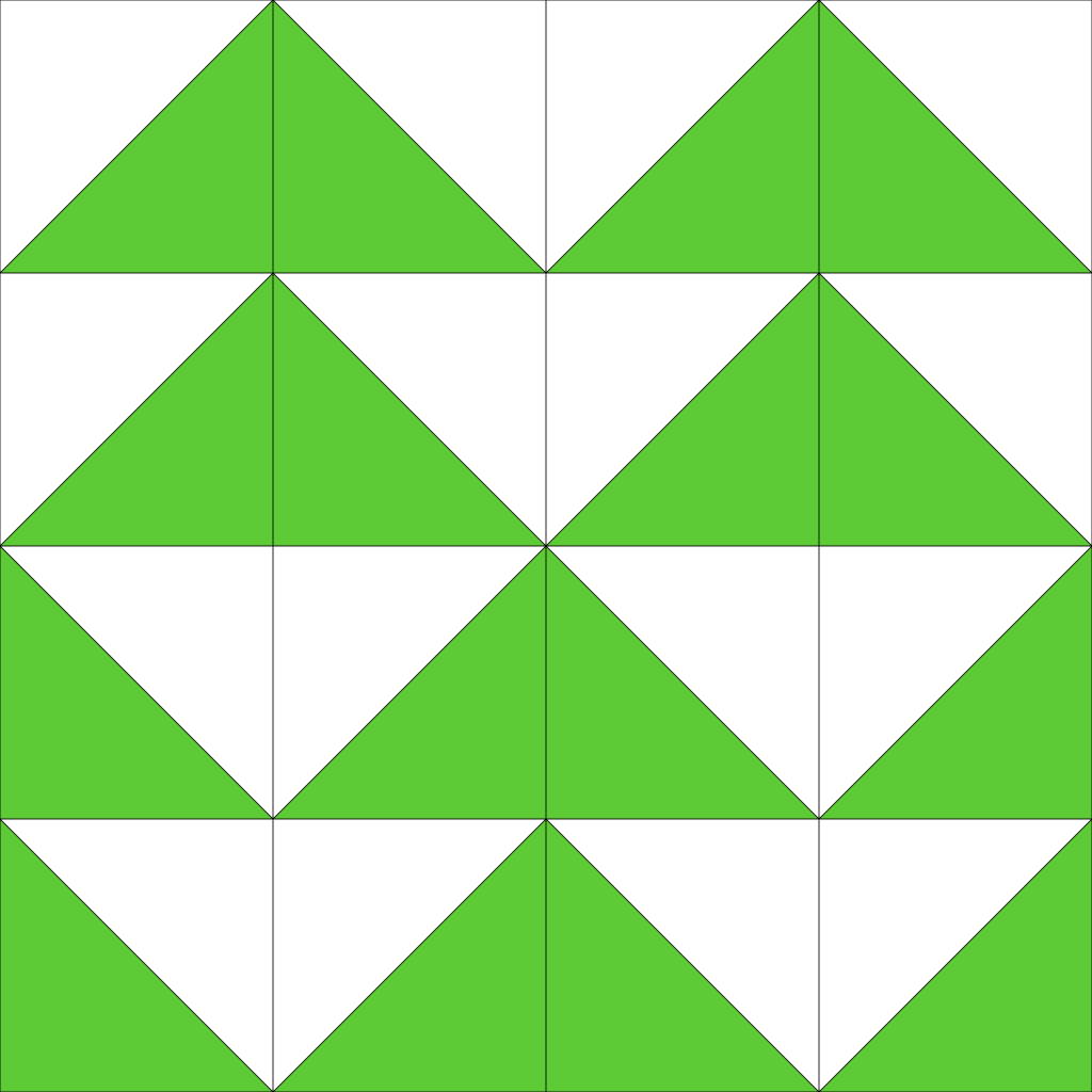the bottom two rows of mirrored triangles are offset halfway, while the top two rows have not. This creates a different kind of repeating pattern.