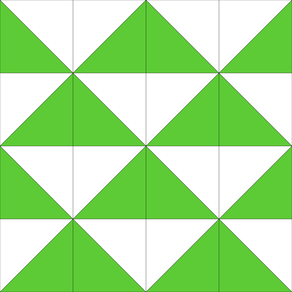 every other row of mirrored triangles has been offset halfway, so that a different overall pattern is created.