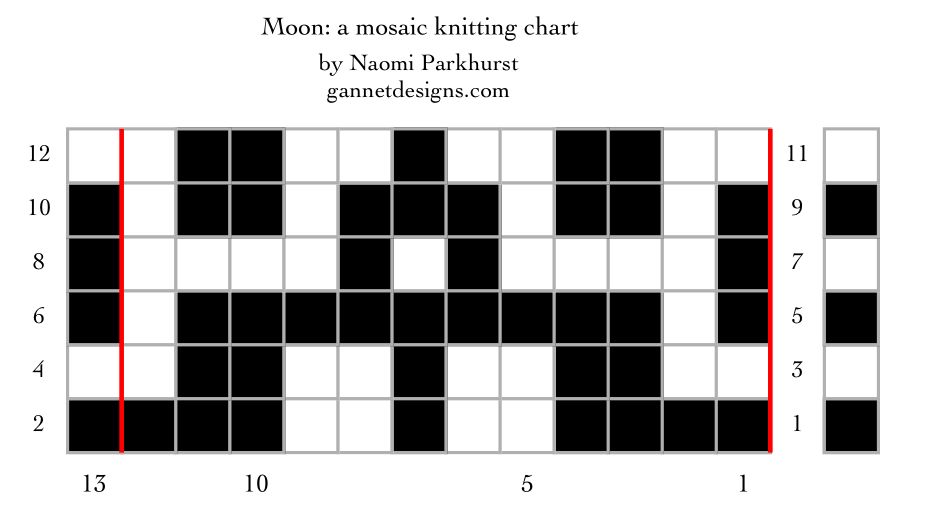 Moon: a mosaic knitting stitch pattern, by Naomi Parkhurst