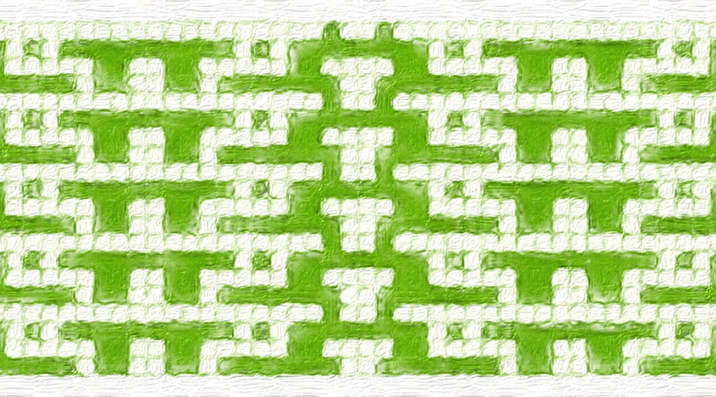 Green: a mosaic knitting stitch pattern, by Naomi Parkhurst (sample image)