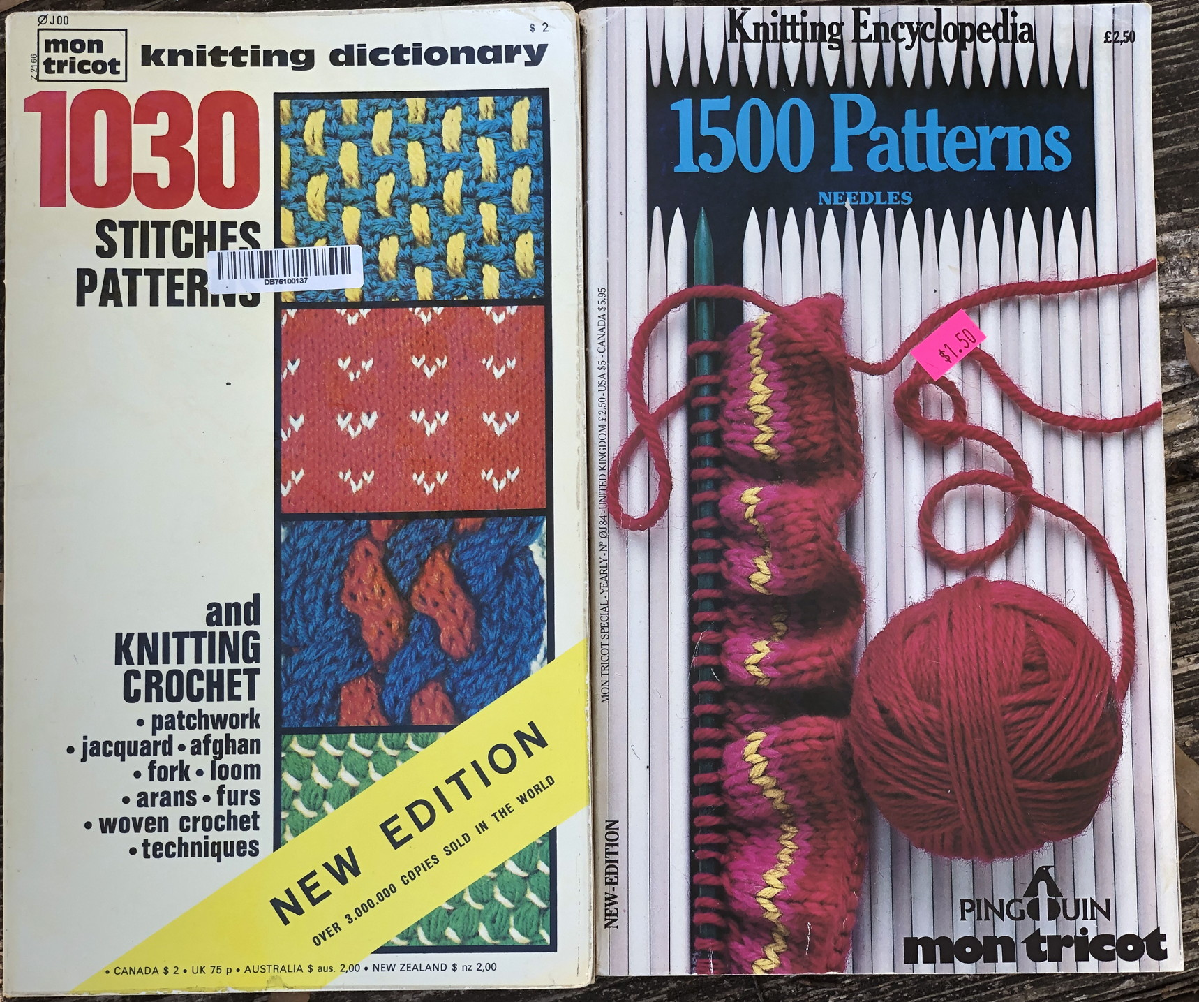 photo of 'Mon Tricot Knitting Dictionary: 1030 Stitches Patterns' and 'Mon Tricot Knitting Encyclopedia: 1500 Patterns'.
