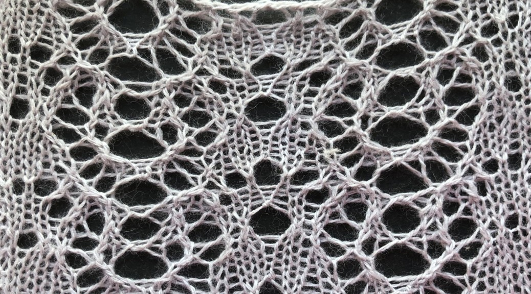 Pumpkin: a lace knitting stitch pattern by Naomi Parkhurst (photo of lace)