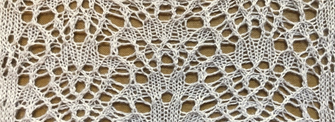 Hiraeth: a lace knitting stitch pattern, by Naomi Parkhurst (photo of swatch)