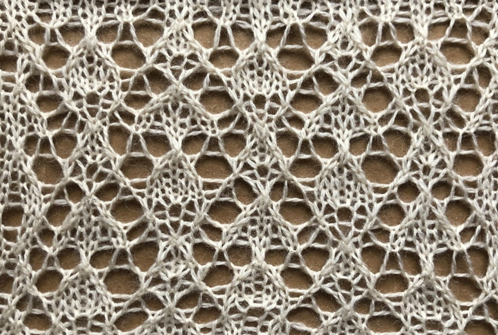 lace sample for Beaded: a lace knitting stitch pattern, by Naomi Parkhurst
