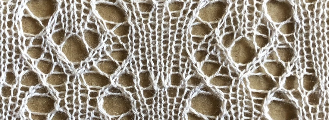 photo of swatch for Zephyr: a lace knitting stitch pattern by Naomi Parkhurst