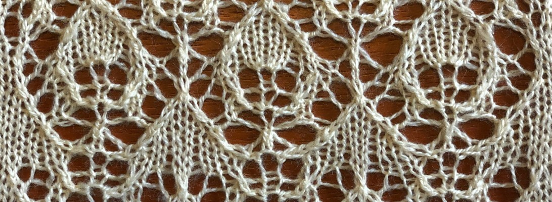 photo of swatch for Apple: a lace knitting stitch pattern, by Naomi Parkhurst