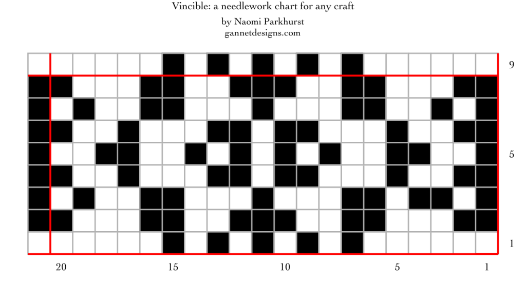 chart for Vincible: a needlework chart for any craft, by Naomi Parkhurst