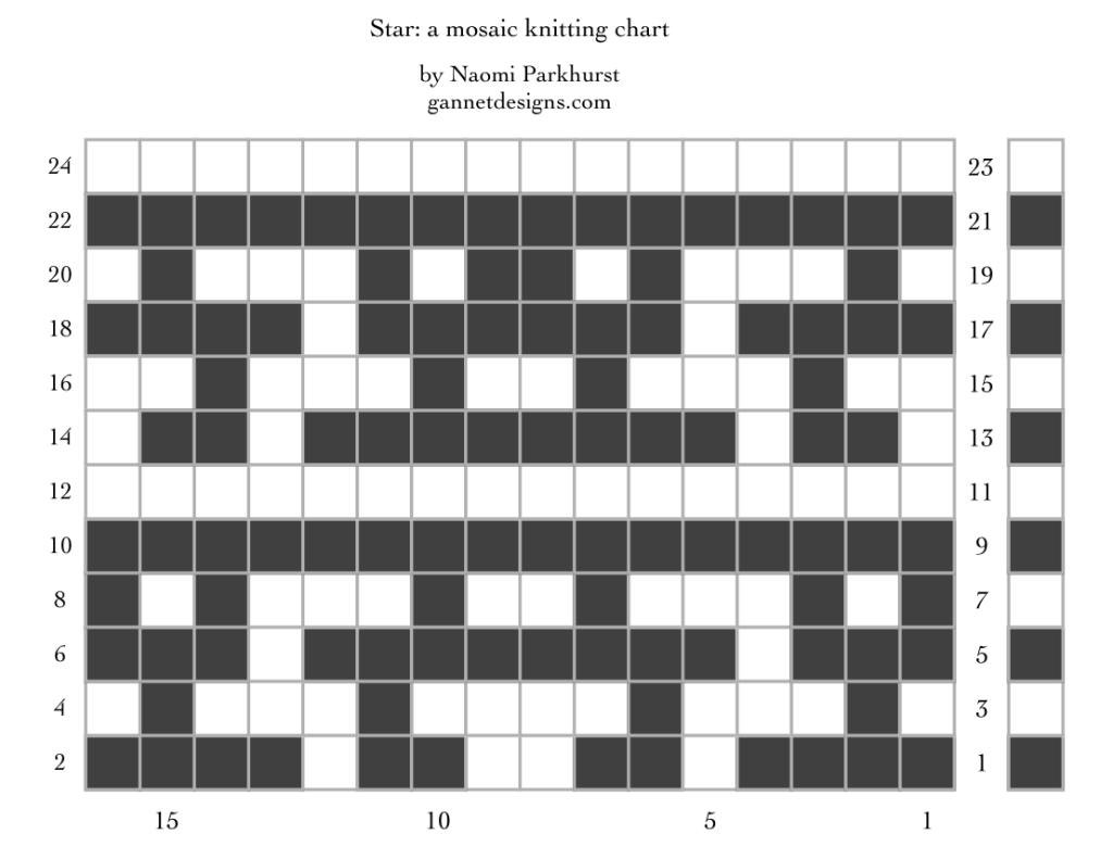 Star: a mosaic knitting chart, by Naomi Parkhurst