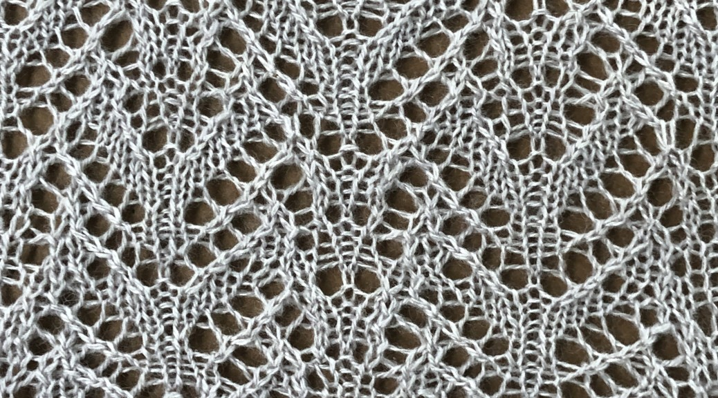 sample swatch for Cumulus: a lace knitting stitch pattern, by Naomi Parkhurst