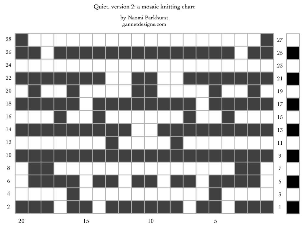 Quiet, version 2: a mosaic knitting chart, by Naomi Parkhurst