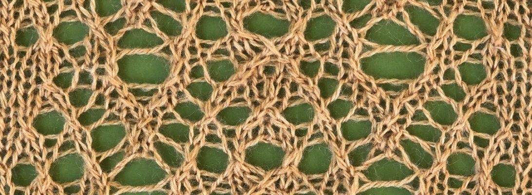 sample swatch for Quiet: a lace knitting stitch pattern, by Naomi Parkhurst