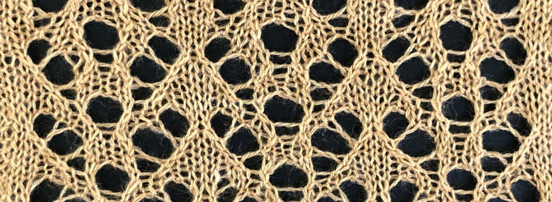 sample knitting for Sea: a lace knitting stitch pattern, by Naomi Parkhurst