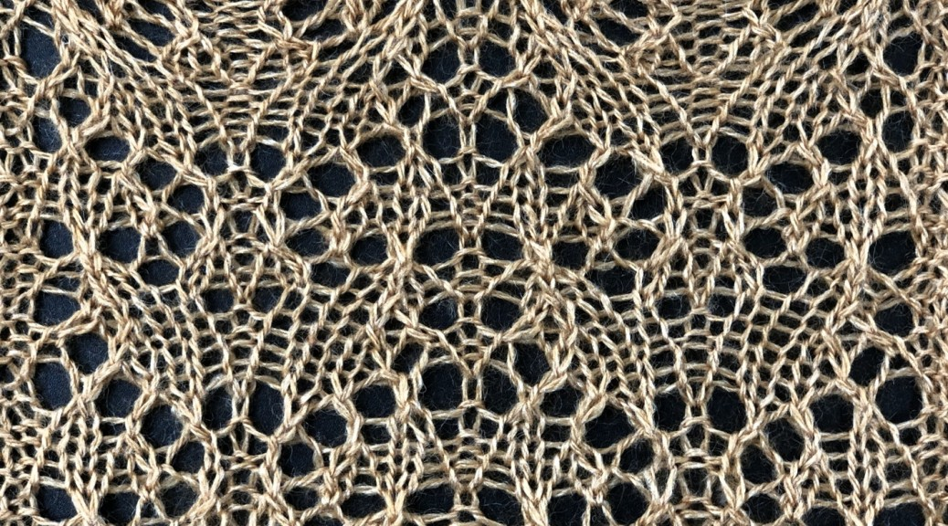 lace swatch for Syzygy: a lace knitting stitch pattern, by Naomi Parkhurst