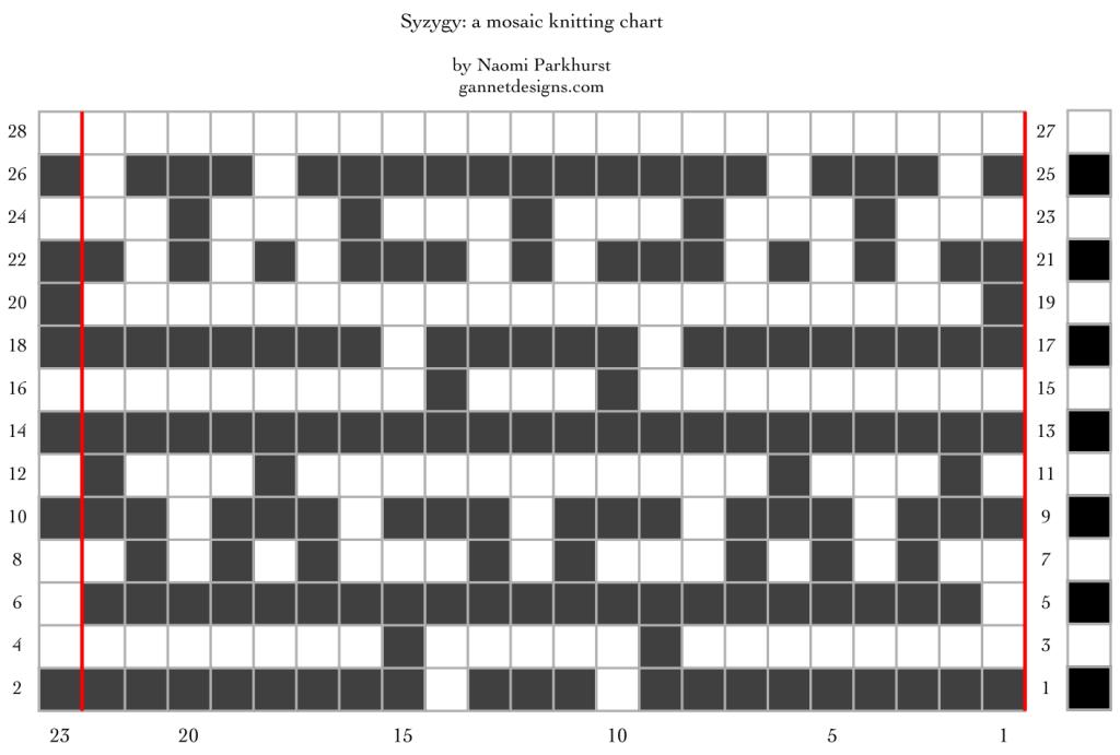 Syzygy: a mosaic knitting chart, by Naomi Parkhurst