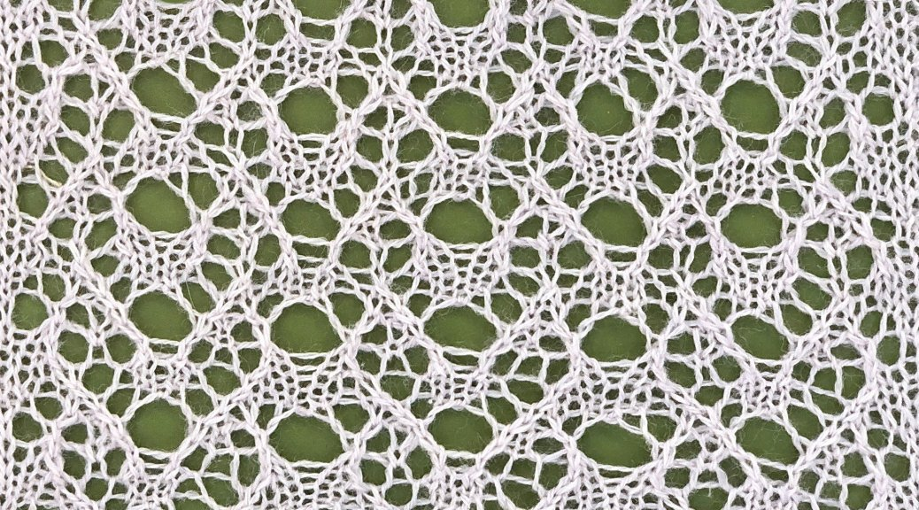 sample knitting for Iris: a lace knitting stitch pattern, by Naomi Parkhurst