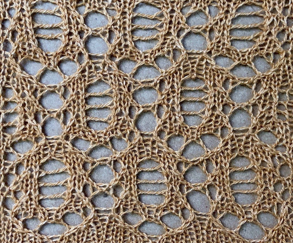 Photo of the knitted lace sample for Icicle.