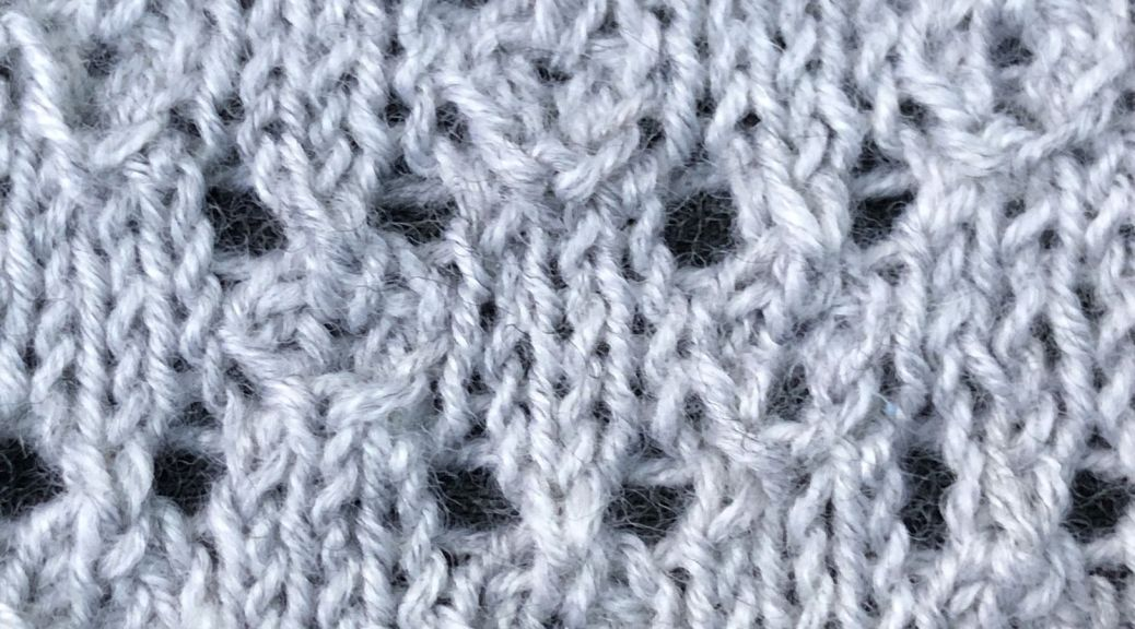 photo of knitted sample of Leafy Blocks lace