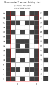 chart showing the layout of the dark and light stitches in Run Mosaic version 2, using black and white squares.