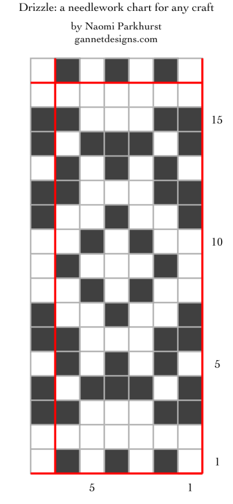 Chart with black and white squares showing how to arrange the pattern