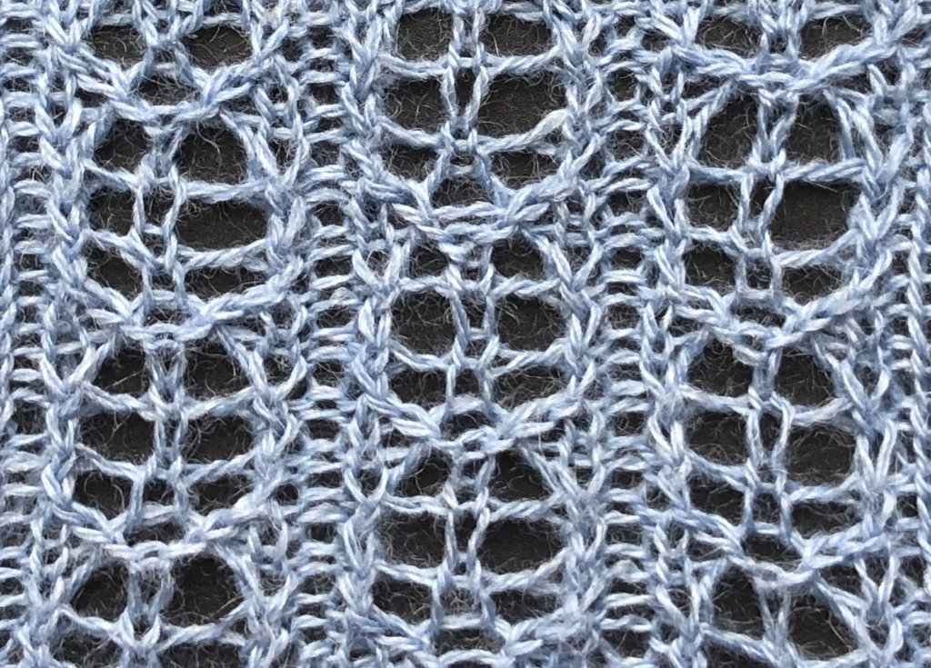 knitted sample of Seed Pod rib lace