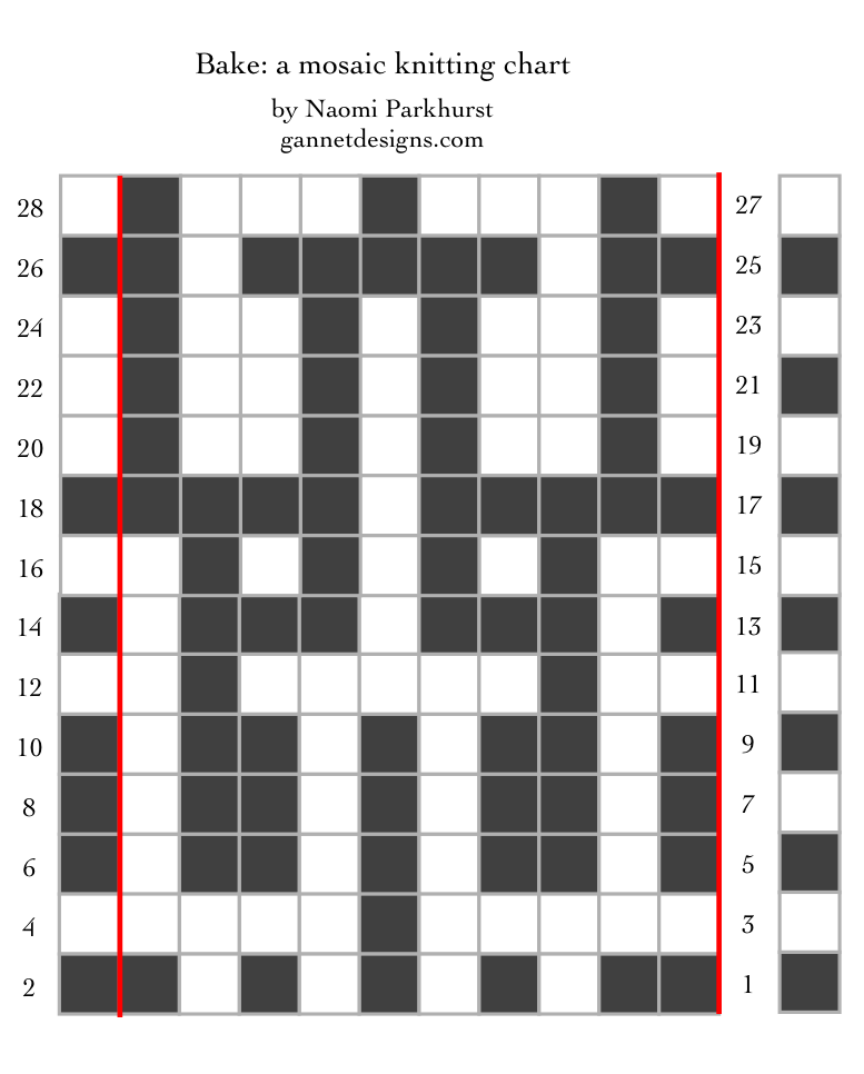 chart showing how to knit the Bake mosaic knitting pattern, as black and white squares