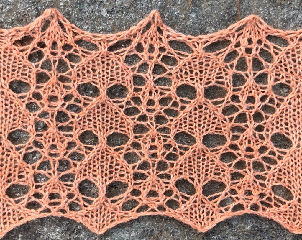 Photo of sample knitting for Palm lace